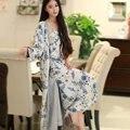 Мода Весна Осень Шелковый Пижамы Две Части Установлен Длинный Ночные Халаты Женщины Печати Ночной Рубашке Домашней Одежды Ночной Рубашке Pijamas Femininos