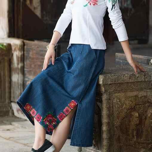 Kadınlar uzun kot etek 2018 kadın sonbahar İspanya tarzı hippi etnik uzun koyu mavi nakış yarık denim etek faldas DF398