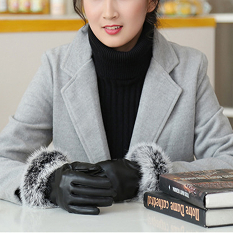 NAIVEROO Waterproof and Warm Touch Screen Gloves made of PU Leather and Conductive Fibers for Women Suitable for Spring and Winter 10