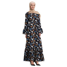 Muslim Summer Small Floral Trumpet Sleeve Embroidery Elegant Swing Dress W419(China)