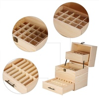 59 Grid Oil Storage Folding Wooden Box Bottles Aromatherapy Container Metal Lock Jewelry Three Layer Essential Oil Wooden Box