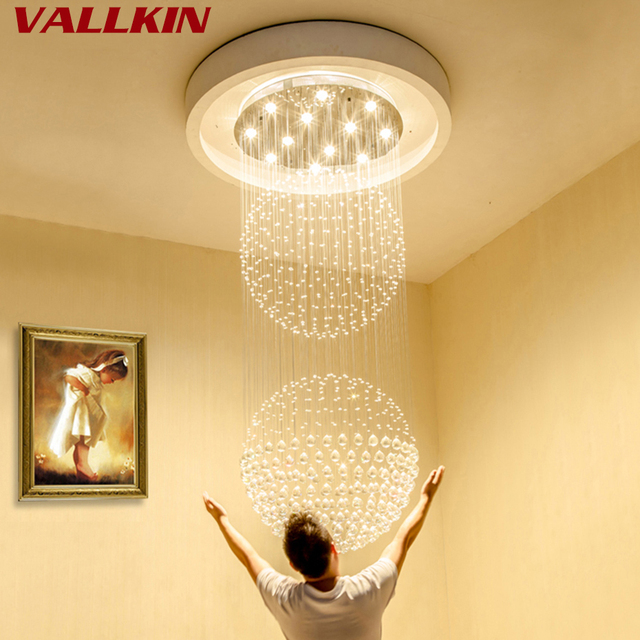 Modern Chandelier For High Ceiling: Luxury Villa Crystal Chandeliers Lighting Fixtures LED