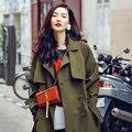 AW003 Осенью 2016 новых прибытия моды негабаритных длинные свободные плюс размер army green траншеи пальто женщин