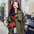 AW003 Autumn 2016 new arrival fashion oversized long loose plus size army green trench coat women