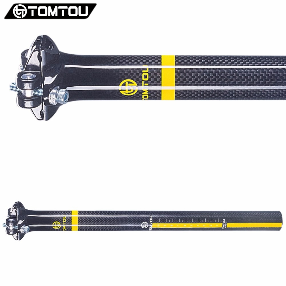 TOMTOU Carbon Seatpost Mountain Road Bike Seat Post 27.2/30.8/31.6*350/400mm Bicycle Parts 0mm Offset 3K Glossy Yellow - TC5T62