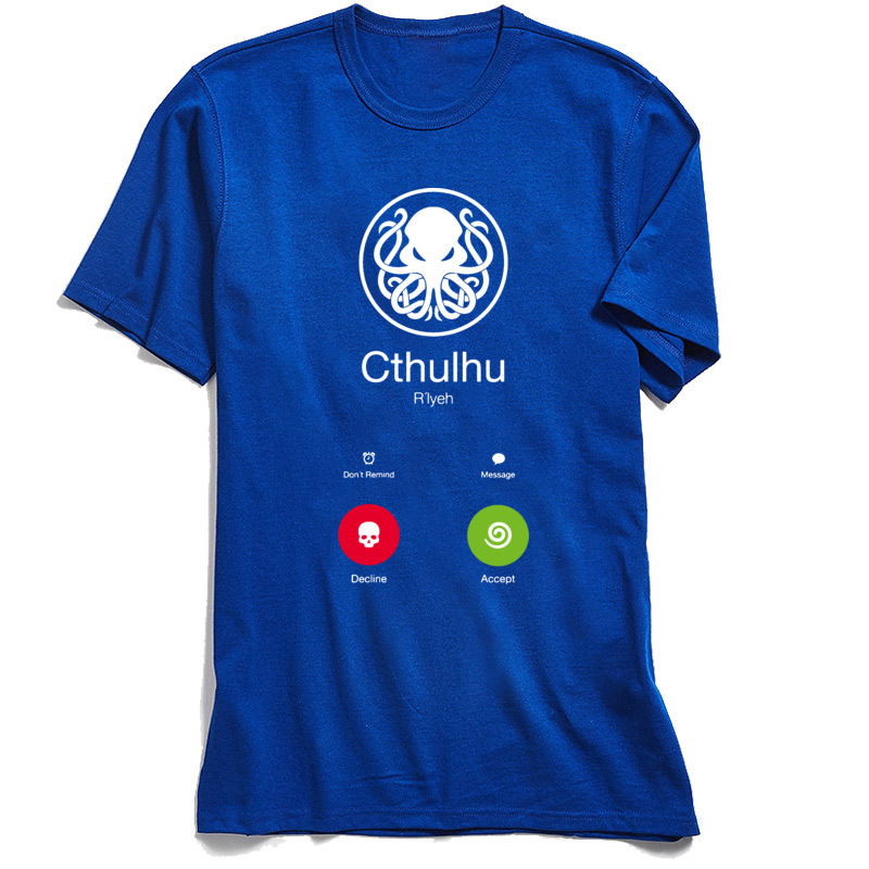NormalCasual Short Sleeve Tops Shirt Summer/Fall Funny Crew Neck Cotton Fabric Sweatshirts Boy T Shirt THE-CALL-OF-CTHULHU  THE-CALL-OF-CTHULHU blue