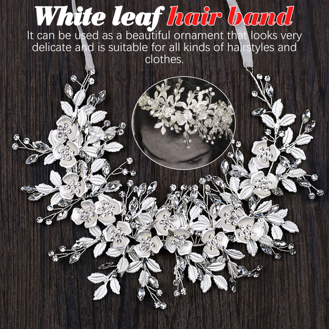 Leaf Hair Band White Crystal Headband Wedding Accessories Tiara Ornaments in Women 39 s Hair Accessories from Apparel Accessories