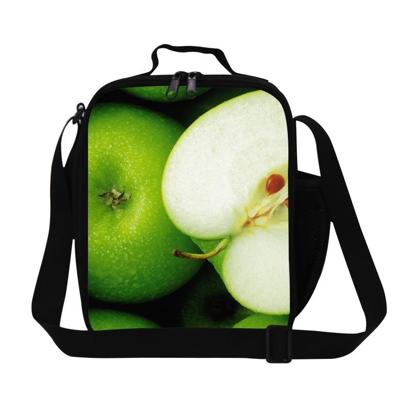 Green apple almuerzo térmica bolsas de la escuela las niñas, señoras con aislamiento bolsas de almuerzo cuadrada para el trabajo, niños lindos de alimentos bolsa con correas