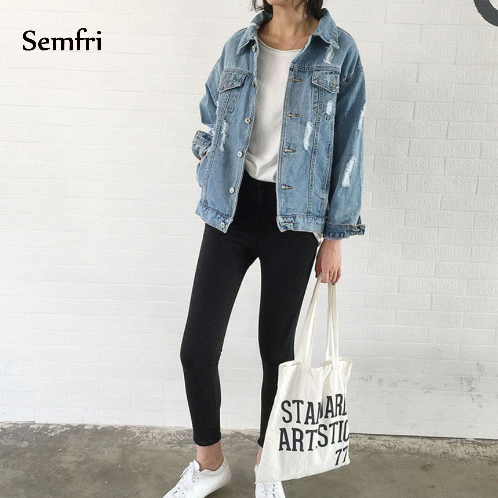 Semfi Jeans Jacket Female Coat Korean Clothing Loose Pockets 2019 Autumn Outwear Jaquetas Distressed Top Cowboy Winter Jean Coat
