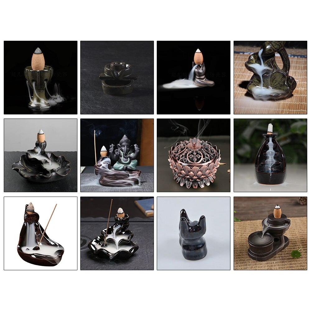 Incense Burner Holder Home Fragrance Buddhist Censer Home Decor Backflow Incense Lotus Incense Cone Burner  Incense Crafts
