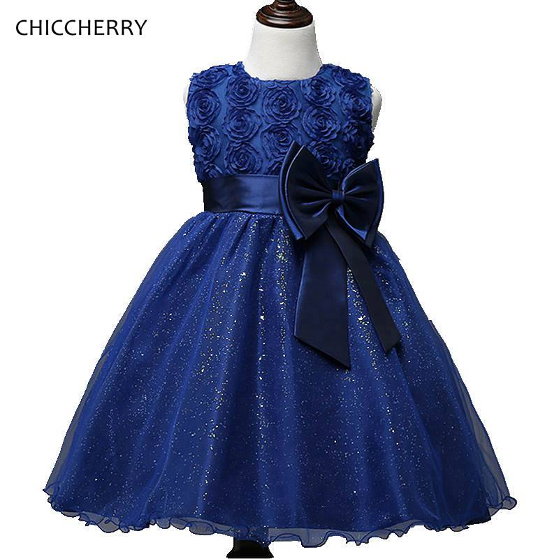 Dark Blue 3D Rose Flowers Party Lace Dress Bowknot Lace Ball Gown for Children Girl Princess Robe Bebe Mariage Kids Clothing napapijri guji check dark blue