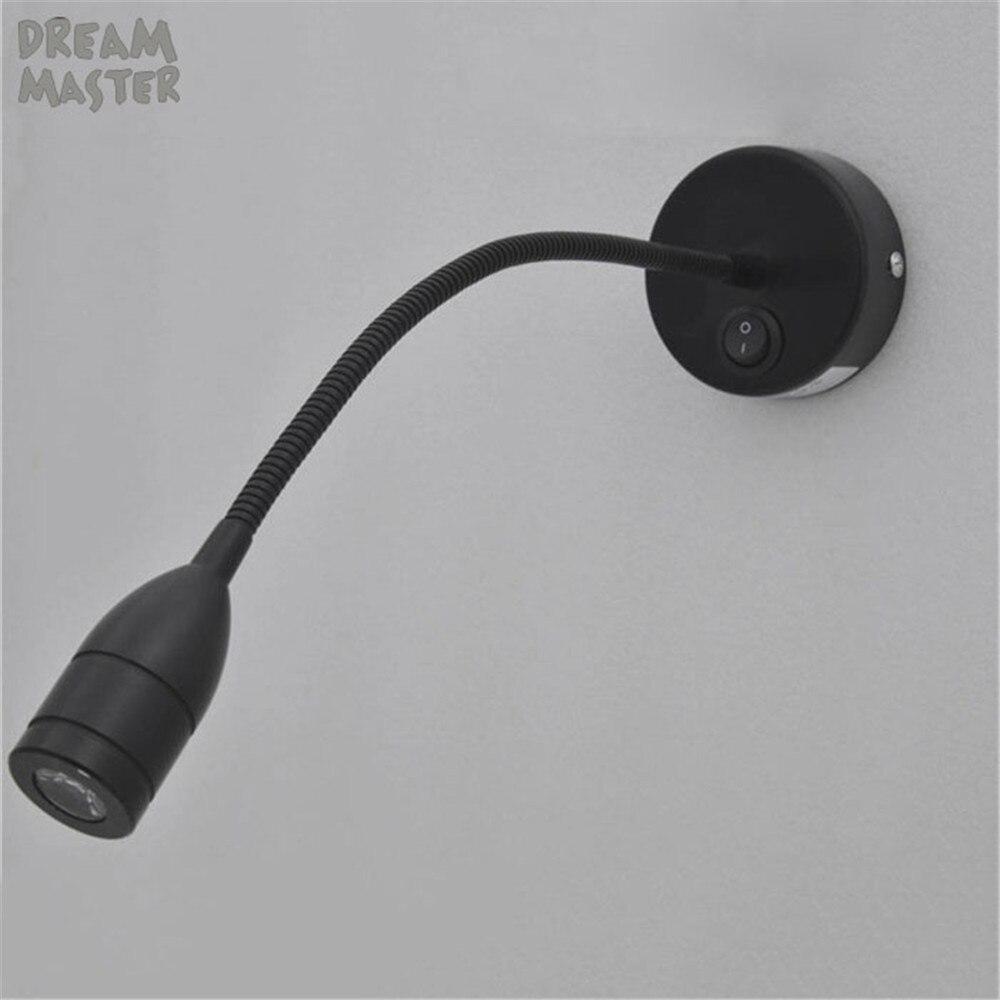 2018 Nova Preto LEVOU luz de leitura de cabeceira 3 W LEVOU sconce da lâmpada de parede moderna lâmpada de parede levou flexível do quarto da cama iluminação luz muro