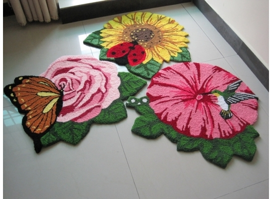 Special shipping bird shaped red morning glory stairs bedroom carpet floor mats coffee table cushion pad computer