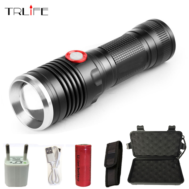 USB CREE XML T6/L2 LED Tactical Flashlight Lantern Aluminum 26650 Torch Flash Light Camping Lamp with Smart Power Reminder eletorot xml l2 led pocket flash light 5 modes aluminum flashlight lamp torch linternas with clip tail rope easy handy