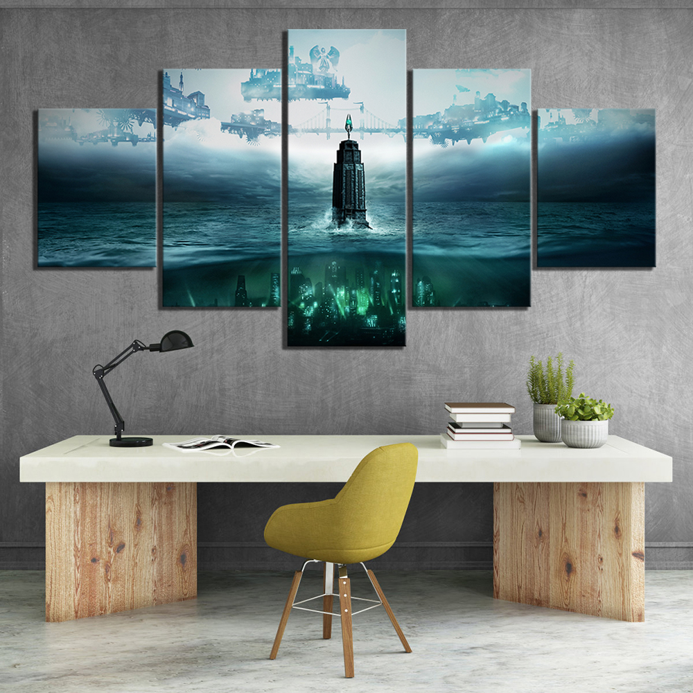 5 Piece HD Fantasy Art Steampunk Style Pictures BioShock The Collection Video Game Poster Canvas Paintings for Wall Decor 1