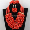 Real Natural Coral Beads Set 2016 New Nigerian African Wedding Beads Necklace Jewelry Set Women Gift Set Free Shipping CJ663