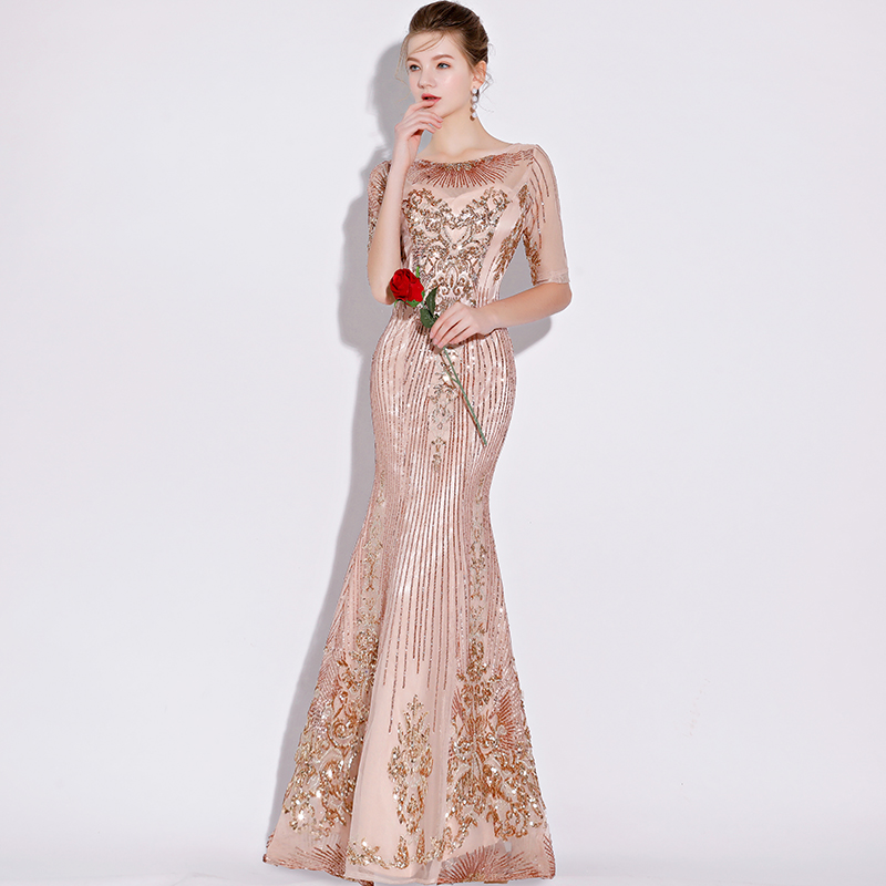 Walk Beside You Champagne Bling Evening Dresses Mermaid Sequined Floor  Length Three Quarters Prom vestido de festa longo de luxo-in Evening Dresses  from ... e1aaff0c7cf1