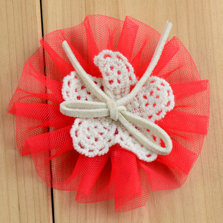 DIY lace Flowers handmade tulle flower with bow for bridal girls clothes cap hair or
