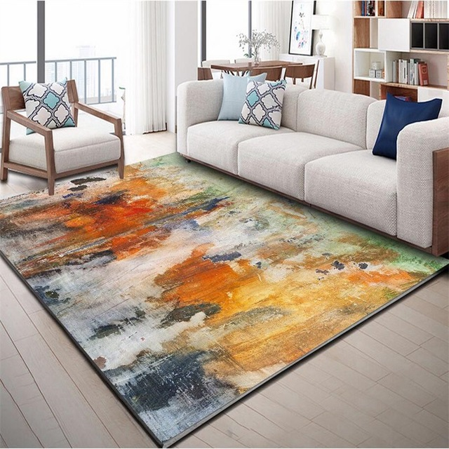 Nordic INS abstract watercolor doodle mat home bedroom bedside entrance elevator floor mat sofa coffee table anti slip carpet