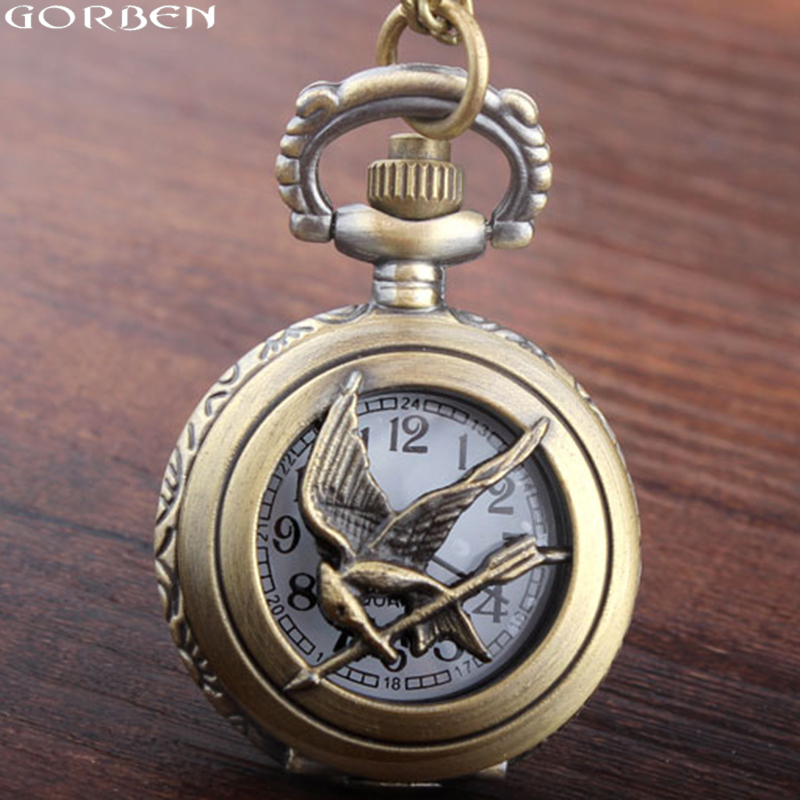 Small Size The Hunger Games Pocket Watch New Fashion Vintage Style Retro Bronze Hollow Quartz Pocket Watch Skeleton Bird Chain