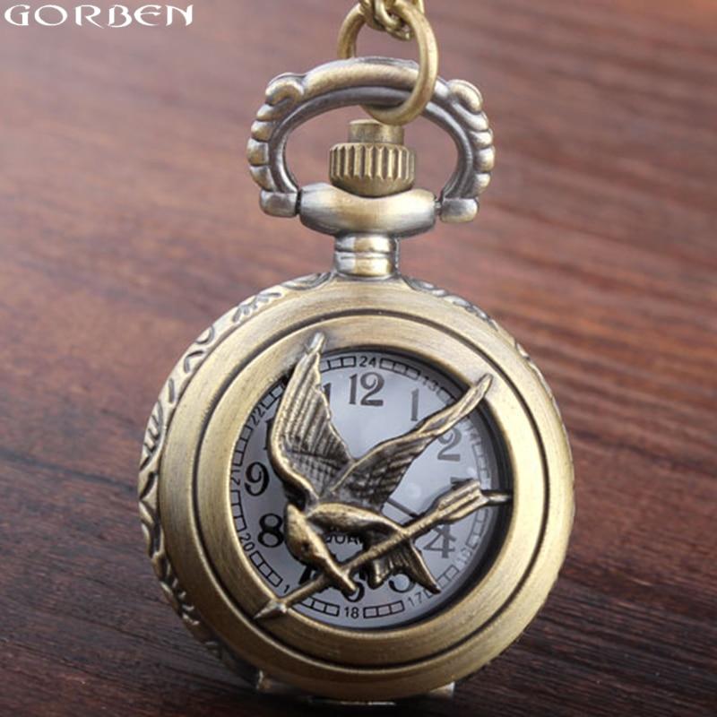 Small Size The Hunger Games Pocket Watch New Fashion Vintage Style Retro Bronze Hollow Quartz Pocket Watch Skeleton Bird Chain