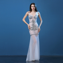 Plus Size Lace Long Dress Rhinestone Nightclub Dresses Clairvoyant Women Slim Fish Tail Sexy Long Train