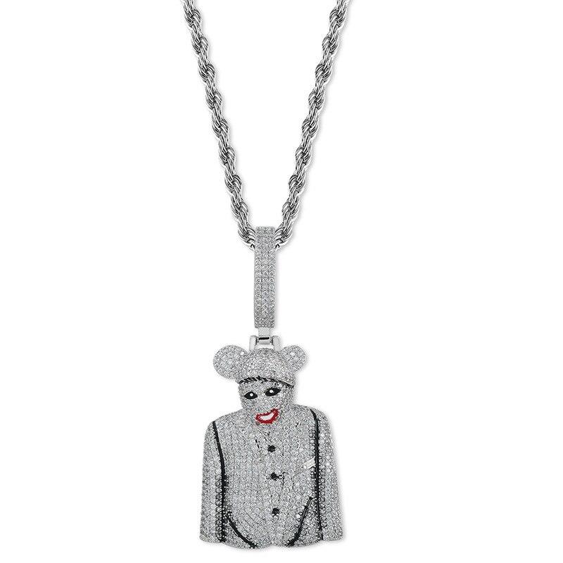 Clown half body large personality men's pendant full zircon pendant necklace