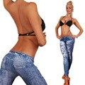 2015 Nuevas Mujeres de Las Polainas de Fitness Ripped Jeans Leggings Verano Otoño Delgada cintura Baja Pantalones del Lápiz Punky Leggins de Las Mujeres Atractivas c-255
