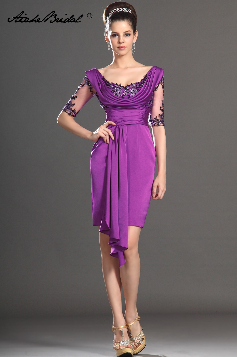 Gorgeous Half Sleeve Knee Length Black Applique Purple Satin Mother Of The Bride Dress Tank Short Formal Women's Dress