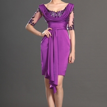 Gorgeous half Sleeve Knee Length Black Applique Purple Satin Mother of the