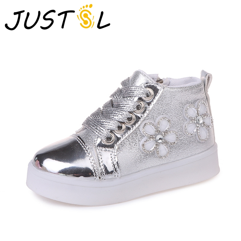 Spring childrens fashion casual light shoes outdoor kids flowers LED comfortable sport shoes girls fashion sneakers size 21-30