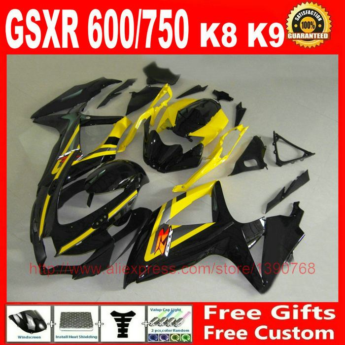 Fairing kit for Suzuki GSXR 600 GSXR 750 08 09 10 yellow black high grade fairings set K8 GSX R 600 750 2008 2009 2010 BM79 motorcycle fairings for suzuki 2008 2009 2010 gsxr 600 gsxr 750 green black fairing body kit k8 08 09 10 gsx r 600 750 zm10