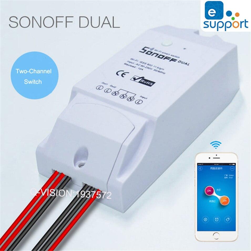 Itead sonoff dual smart home 2 vías wifi smart switch, interruptor temporizador