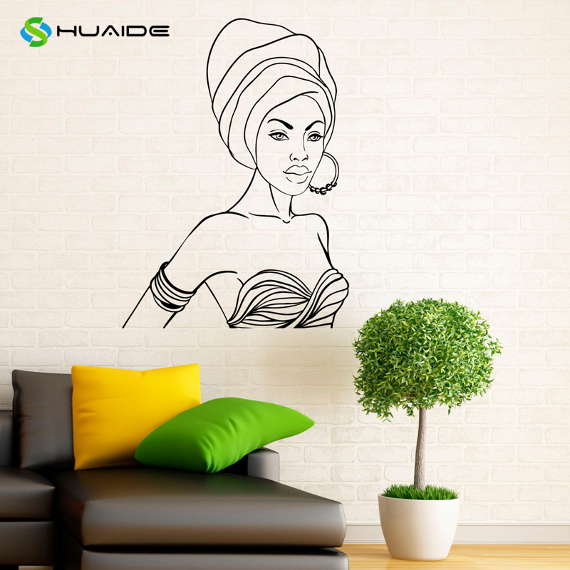 Africa african girl wall decal beauty salon shop vinyl stickers murals bedroom wall decor - Wall decor stickers online shopping ...