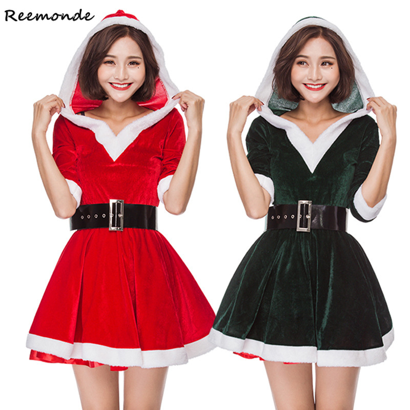 Christmas Cosplay Costumes Santa Claus Red Green Cashmere Velvet Dresses Belt Set Uniform For Adult Women Girls Party Clothes