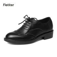 Fletiter Retro Brogue Echt PU Lederen Vrouw Oxford Schoenen Britse Vintage Uitsparingen Platte Schoenen Casual Oxford Schoenen voor vrouwen