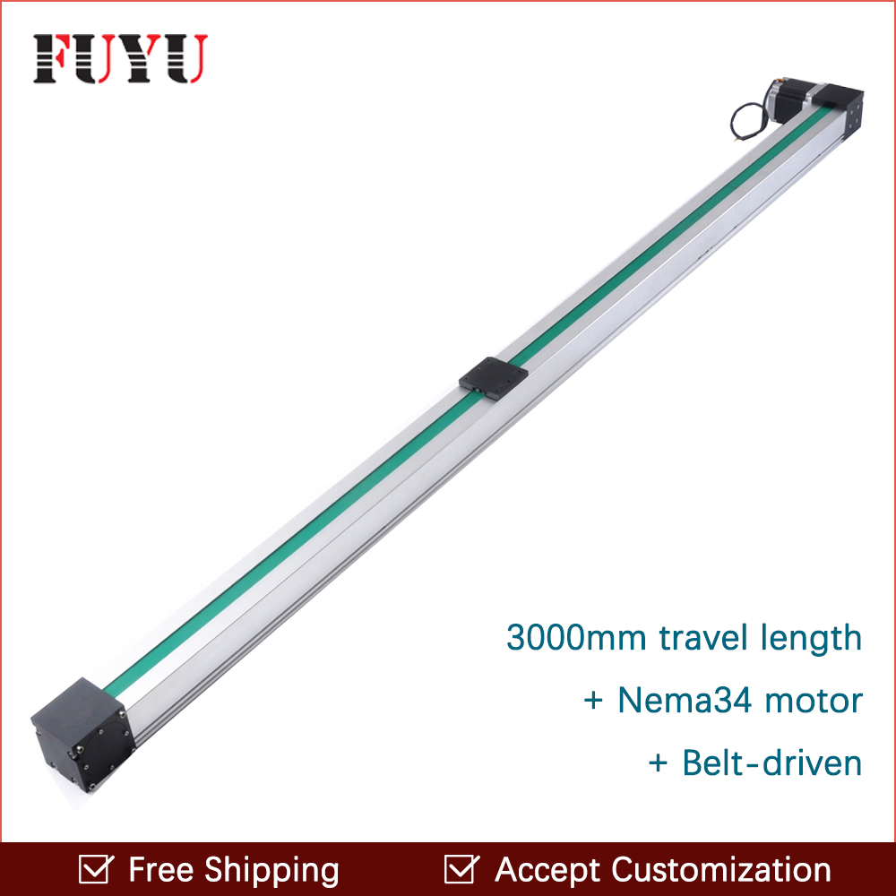 Free shipping 2016 new design 3000mm stroke belt driven rail linear for motorized xy table toothed belt drive motorized stepper motor precision guide rail manufacturer guideway