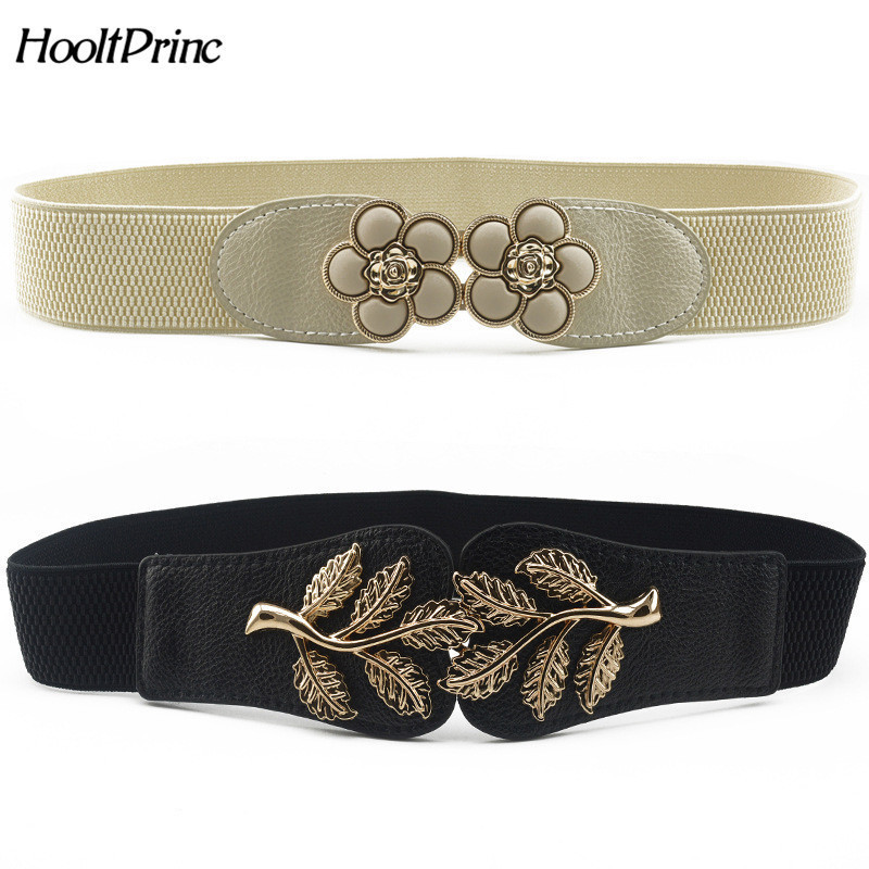New Vintage Design Belt For Women Alloy Buckle Wide Elastic Stretch Waist Belt Female PU Leather Fashion Joker Belt