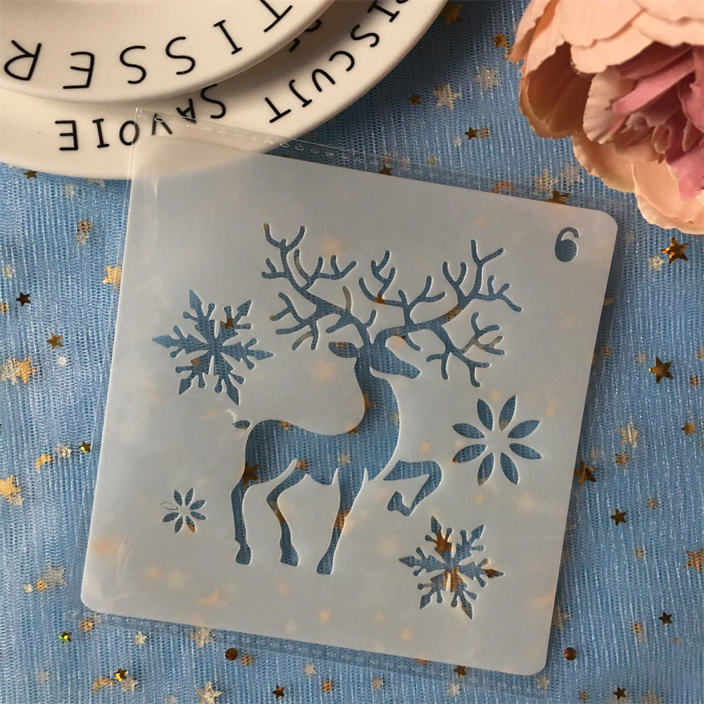 New 13cm Christmas Deer Snow DIY Layering Stencils Painting Scrapbook Coloring Embossing Album Decorative Card Template