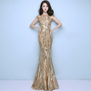Image 5 - FADISTEE New arrival elegant party dress evening dresses prom bling sequins mermaid gold sashes long short sleeves simple style