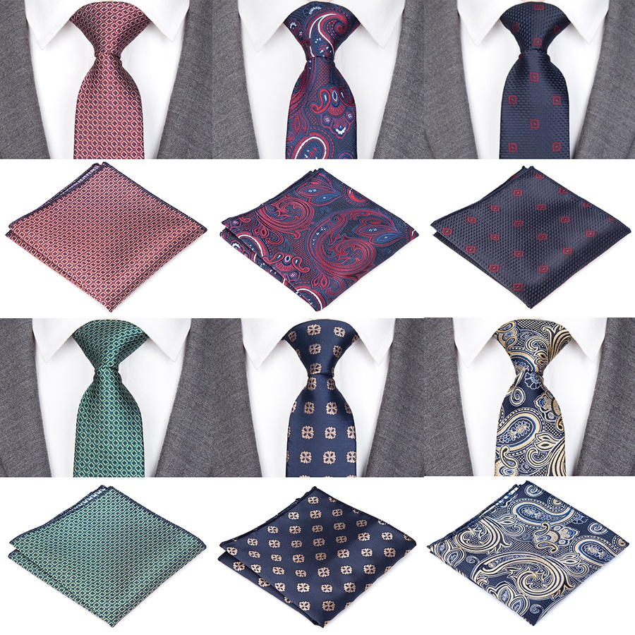 Ties For Men Luxury Design Plaid Striped Bow Tie Set Jacquard Woven Mens Necktie Gravata Hanky Shirt Accessories Wedding Party