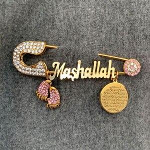 Image 3 - トルコ邪眼 AYATUL KURSI Mashallah ステンレス鋼ピンクのブローチイスラム教徒のベビーピン