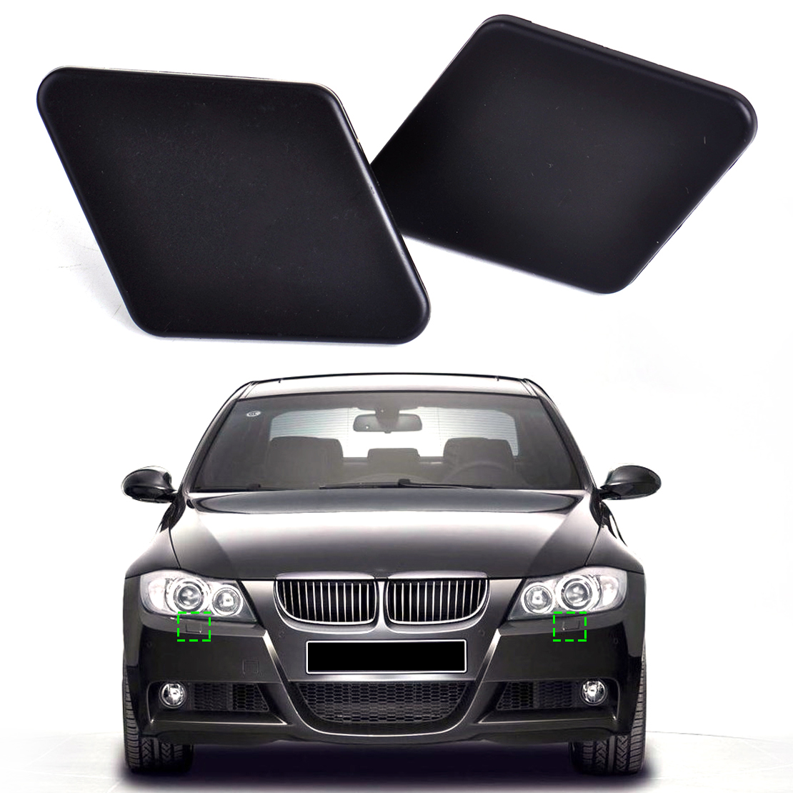 beler 1Pair Front Bumper Headlight Washer Nozzle Cover <font><b>Cap</b></font> 61678031307 61678031308 for <font><b>BMW</b></font> 3 Series <font><b>E90</b></font> 2005 2006 2007 2008 2009 image