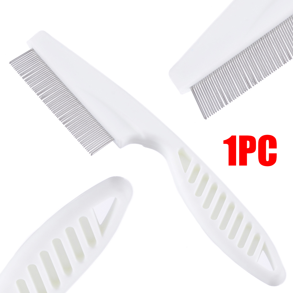 1pc High Comfort Head Lice Comb Metal Nit Head Hair Lice Comb Fine Toothed Flea Flee With Handle For Kids Pet Tool