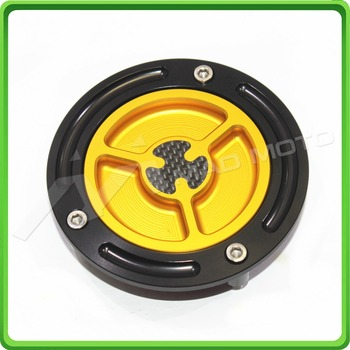 Motorcycle Keyless Carbon Gas Tanks Fuel Cap Cover - For Yamaha YZF-R1 1998-2016 & YZF-R6 1999-2016 Yellow