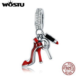 WOSTU 11.11 Sale 925 Sterling Silver Women Shoes, Mirror Makeup Pendant Beads fit Charm Bracelet Jewelry For Women Gift CQC457