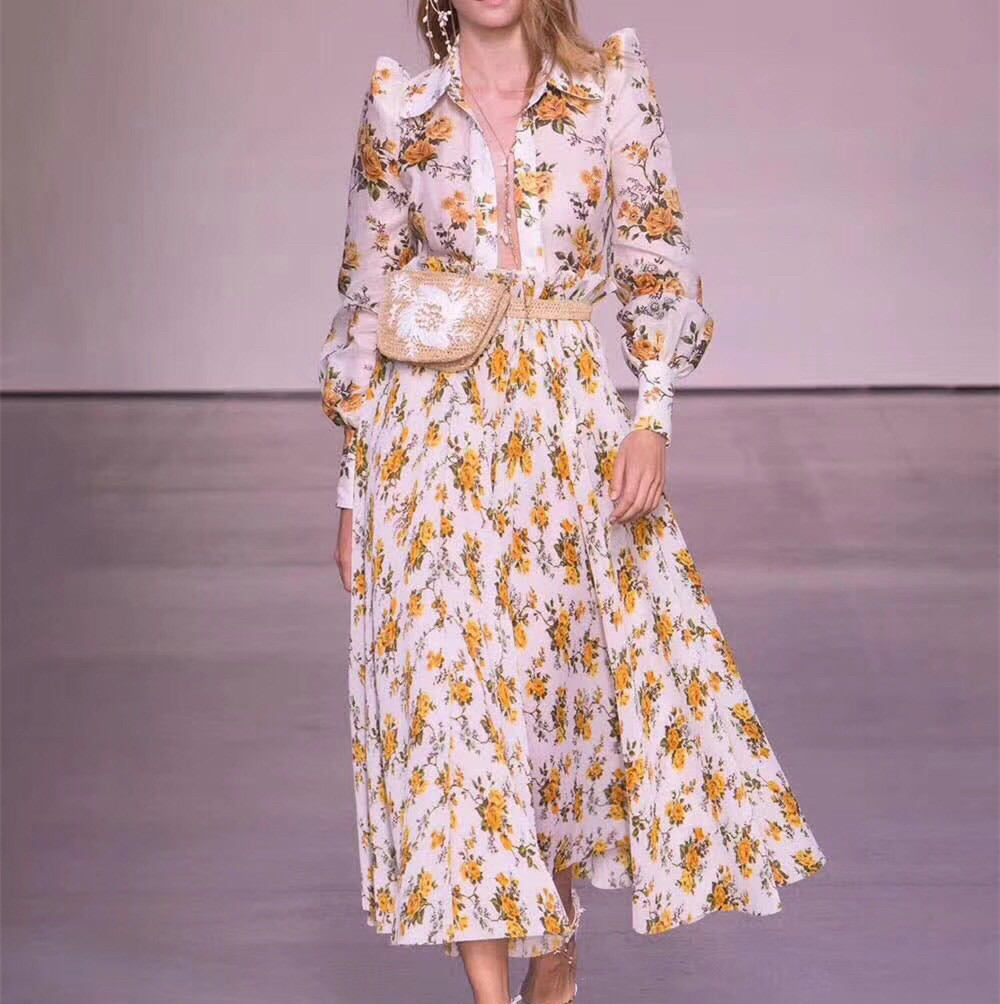 Women Golden Linen and Silk Blouse Tangerine Vine Floral Print Blouson Sleeves Feminine Golden Floral Print Shirt Top