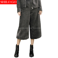 SHILO GO Fashion Street Women colours Loose Empire was thin Lamb fur Wide leg Pants Ladies Concise Wide Leg pants Good Quality