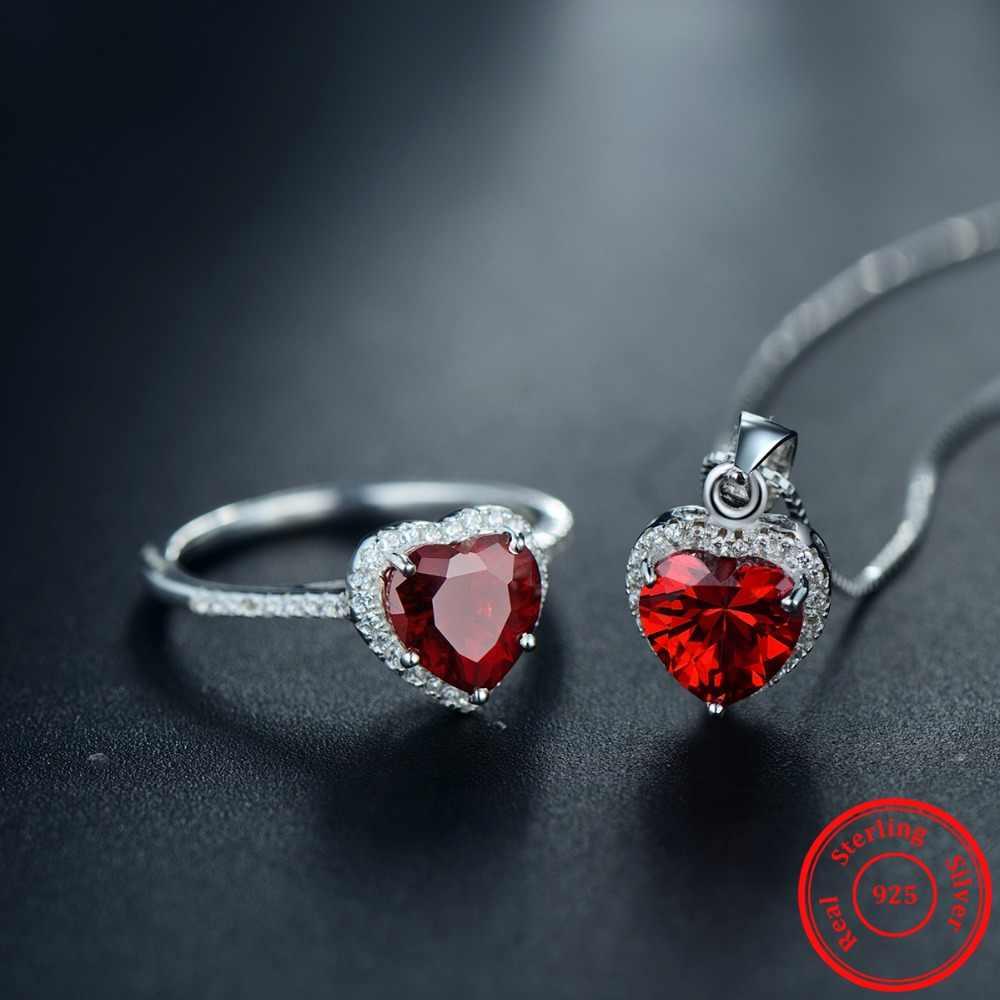 موديان حقيقية الصلبة 925 فضة قلوب مجموعات مجوهرات الأحمر خاتم قلادة الزفاف كريستال قلادة سلسلة الموضة للنساء