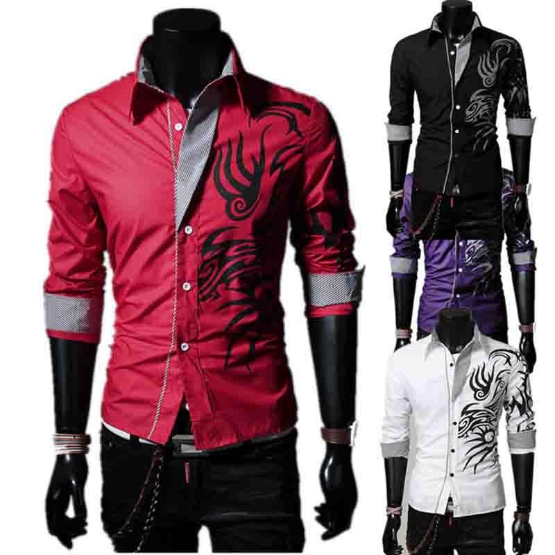 New Men's Chest Lattice Line Design Shirts British Fashion Long Sleeve Shirts Personality Dragon-print Shirt